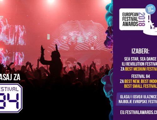 Festival 84 već u prvoj godini nominovan za najbolji europski festival u čak tri kategorije!
